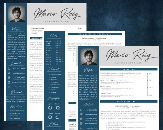 Modern Resume \ Cover Letter Template --- Editable word format - brochure format word