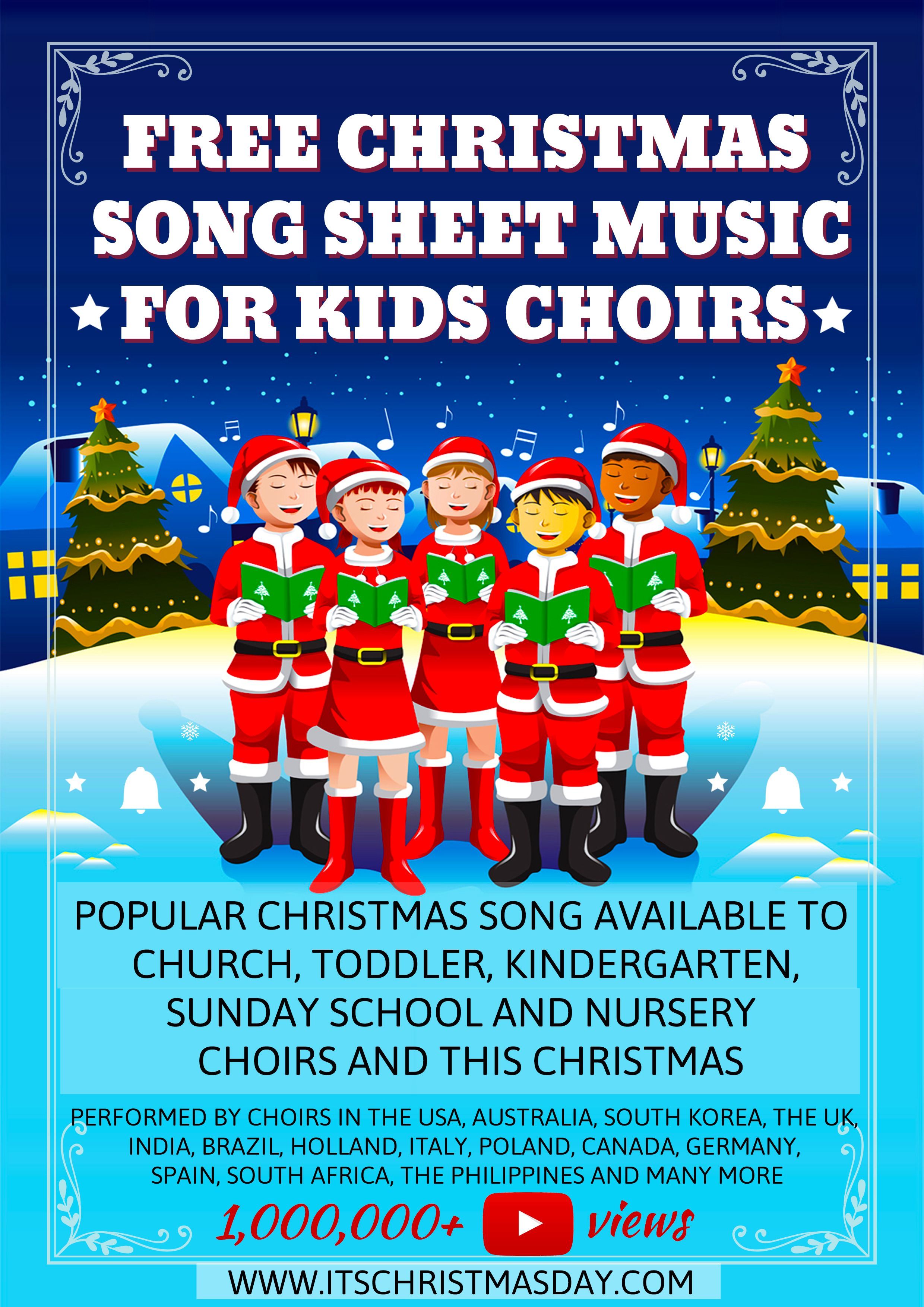 Free Christmas song sheet music and Mp3's for all kids