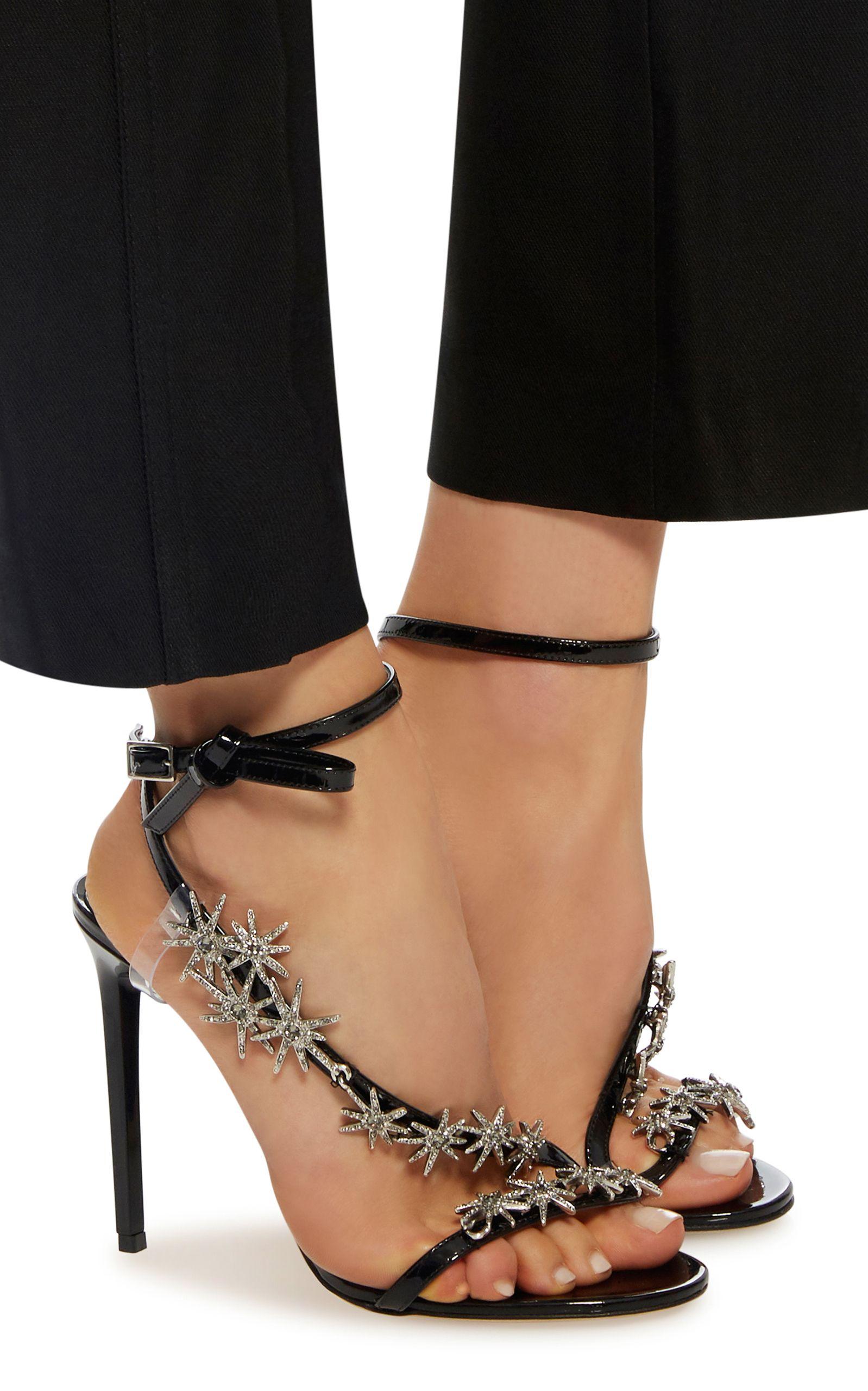 Oscar de la Renta Snakeskin Embellished Sandals sale clearance store cheap sale very cheap tpwndwzj