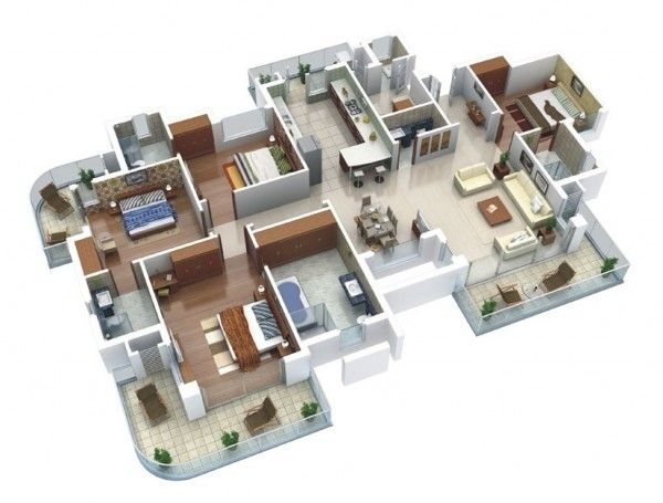 4 Bedroom Apartment/House Plans | Apartment layout, 3d house ...