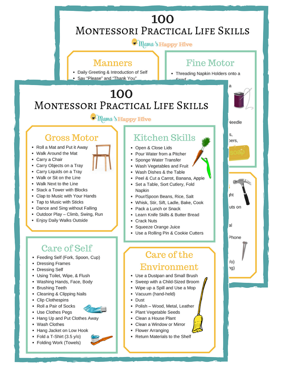 Skills List Amazing 100 Montessori Practical Life Skills List For Toddlers And .