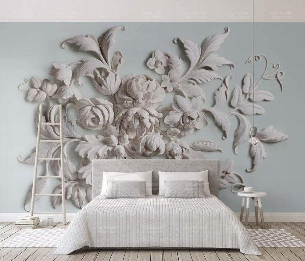 3d Embossed Look Cement Flowers Wallpaper Mural Wallpaper Li