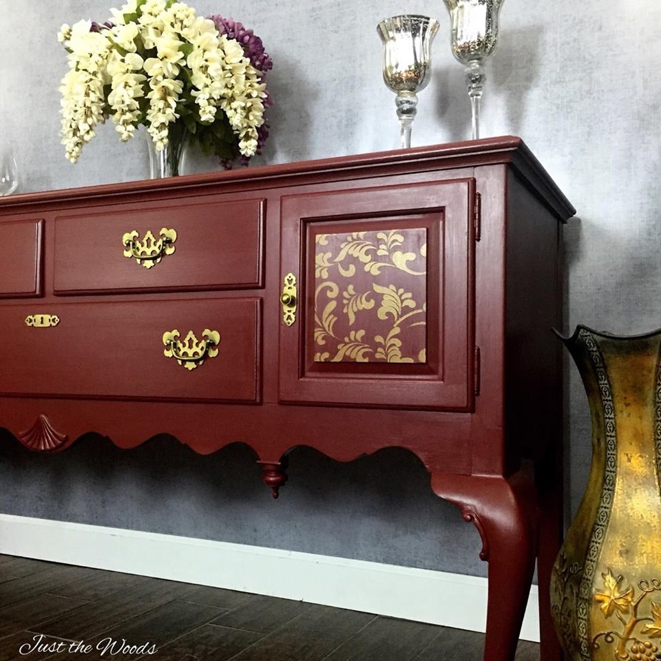 ... Painted Buffet With Stencil Top By Just The Woods DIY180 Ethan Allen  1960 Bench Makeover ...