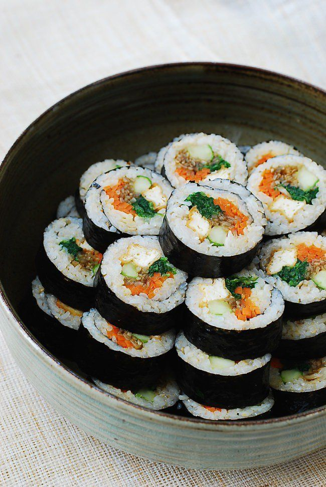 Tofu Gimbap Korean Bapsang Recipe Vegan Korean Food Gimbap Recipe Recipes