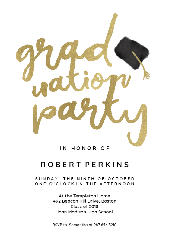 Hats Off Graduation Party Invitation Template Free