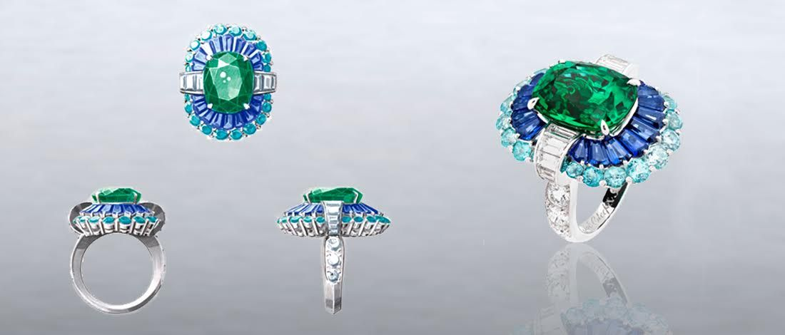 Adria ring by Van Cleef & Arpels: White gold, platinum, round and baguette-cut diamonds, baguette-cut sapphires, Paraíba-like tourmalines, one cushion-cut emerald of 8.35 carats (Zambia)
