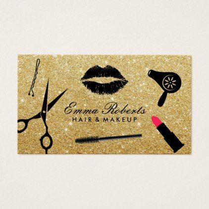 Modern Gold Glitter Hair Stylist Beauty Salon Business Card Zazzle Com Beauty Salon Business Cards Glitter Business Cards Salon Business Cards