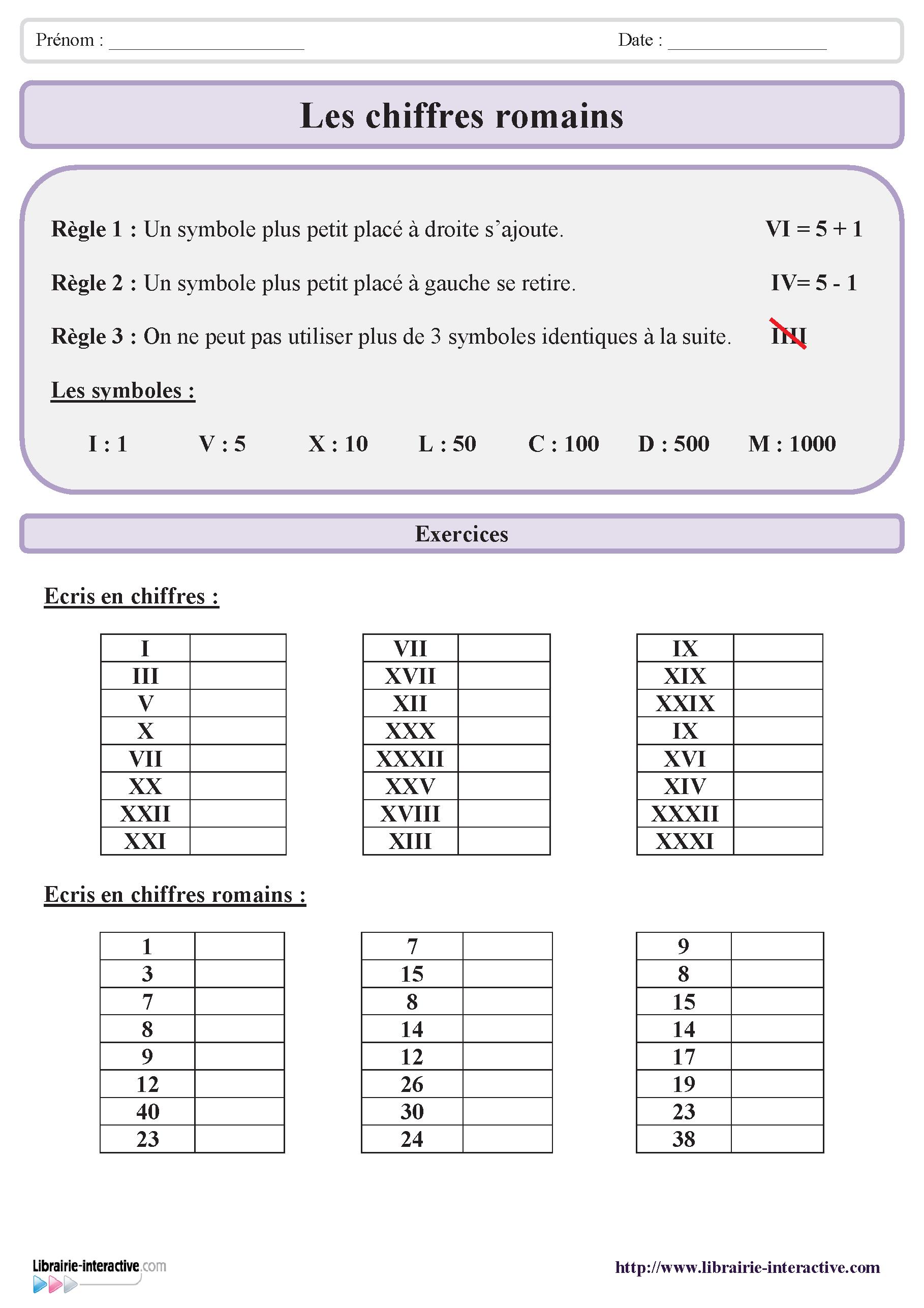 deux exercices sur les si u00e8cles et les chiffres romains avec un petit rappel des r u00e8gles  u00e0