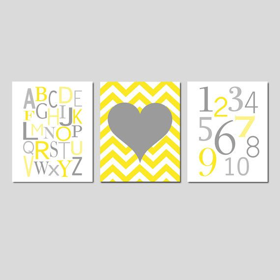 Yellow and Grey Nursery Wall Art Trio Modern Alphabet by Tessyla ...