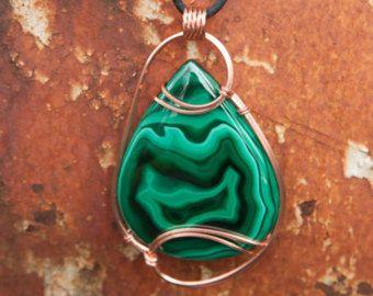 Mammoth Green Malachite Pendant, Copper Wire Wrapped Pendant, Wire ...