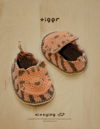 Crochet Baby Pattern Tiger Booties Newborn Slippers Preemie Socks ...