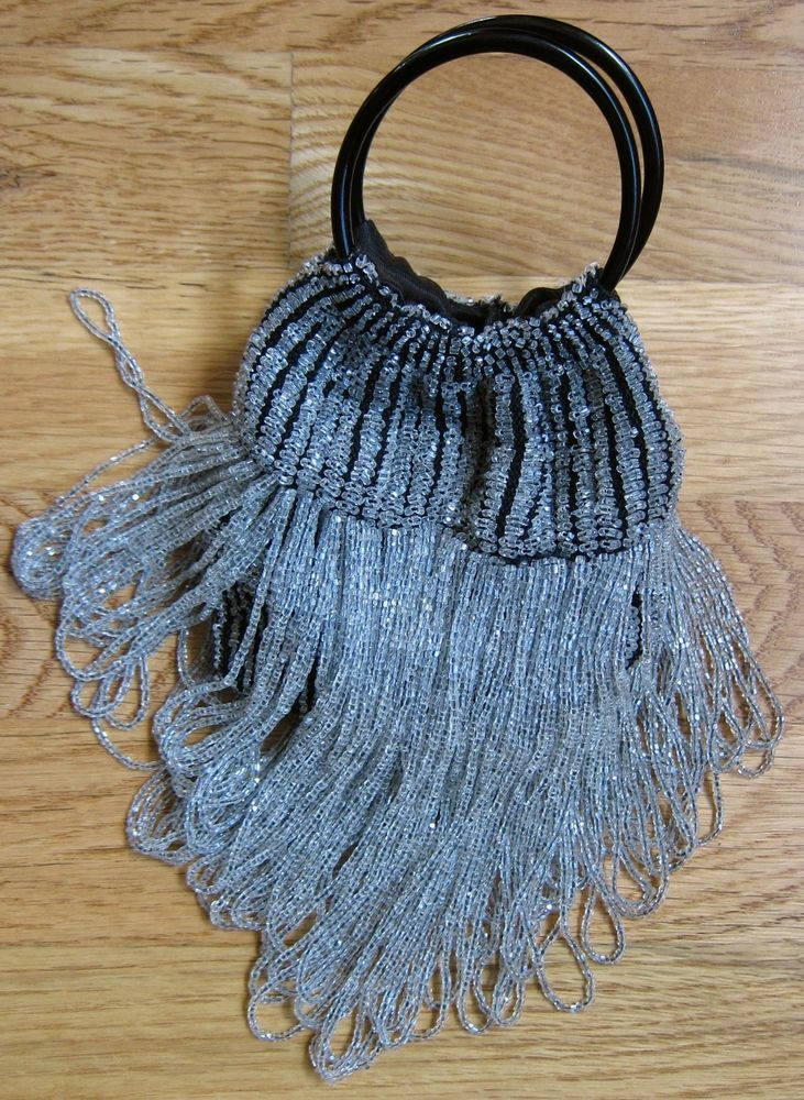 Vintage Art Deco Silver & Black Glass Bead Fringe Flapper Purse w/coin purse. #EveningBag