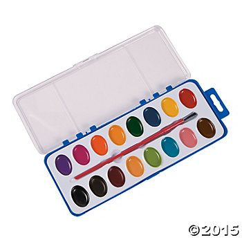 Deluxe Water Colour Paint Tray Sets 12 Sets Party Supplies
