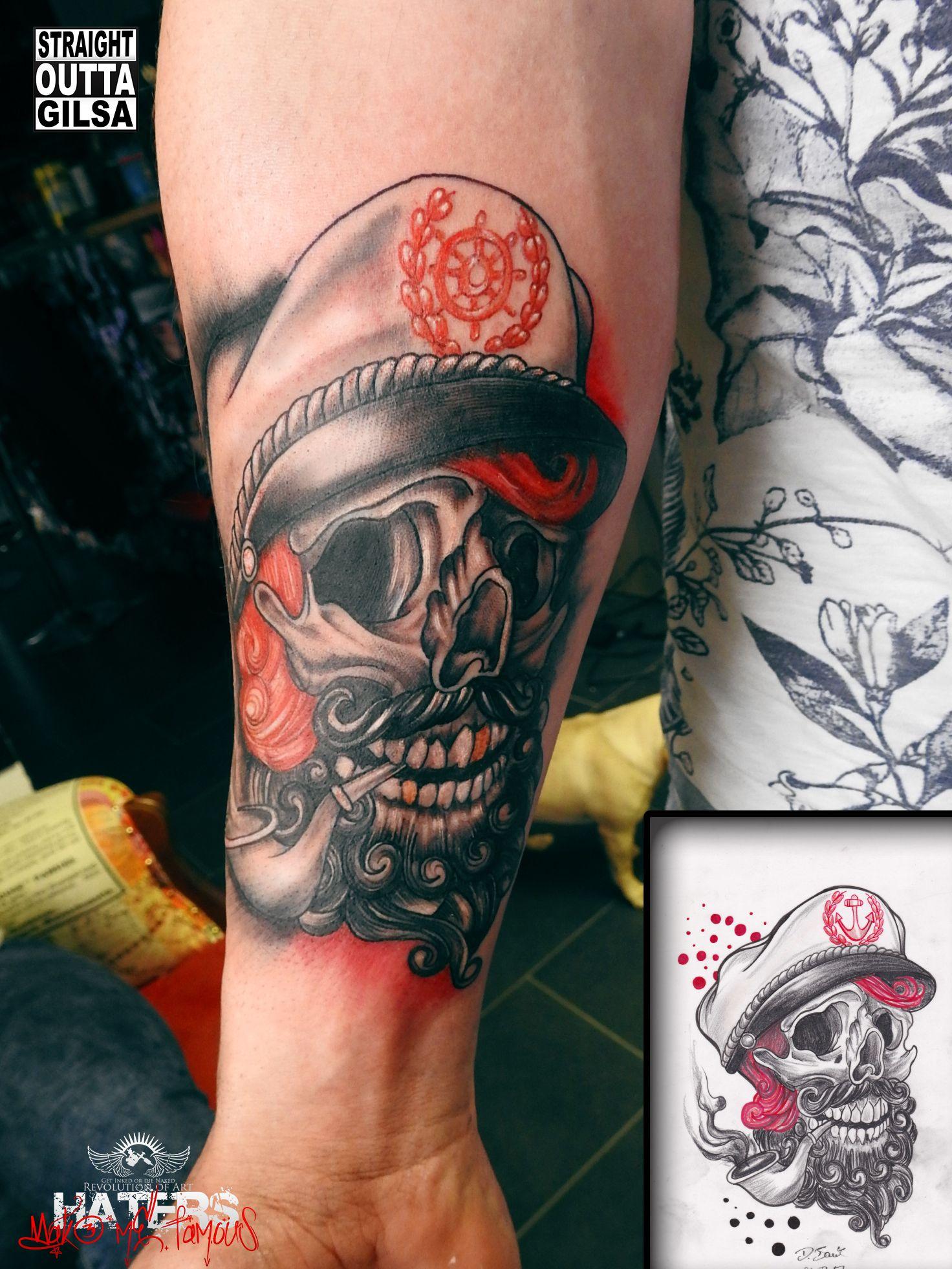 tattoo skull totenkopf sailor captain kapit n. Black Bedroom Furniture Sets. Home Design Ideas