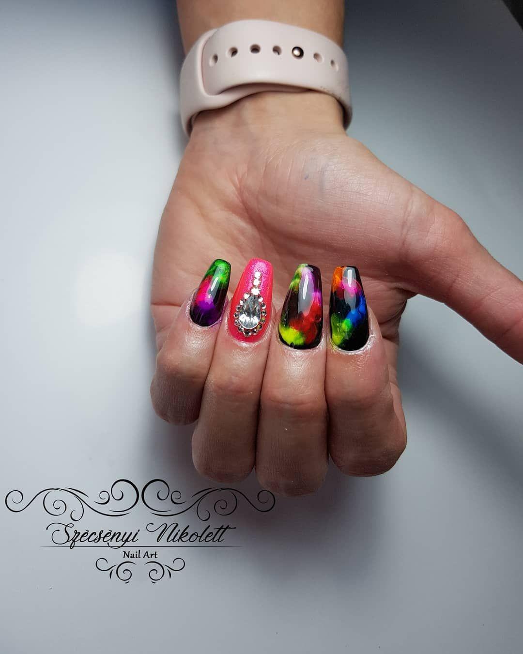 Smokin' Hot Neon Smoke Nail Art Designs | Nail art designs ...