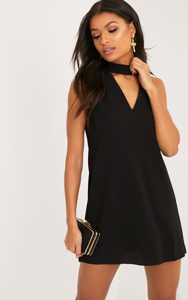 00e53fa18040 Cinder Black Choker Detail Loose Fit Dress