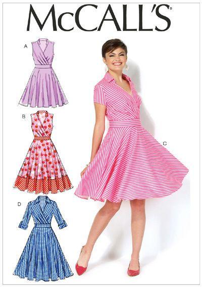 McCalls 7081 4 in 1 Wrap Bodice Dress Full Skirt 50s retro Sewing ...