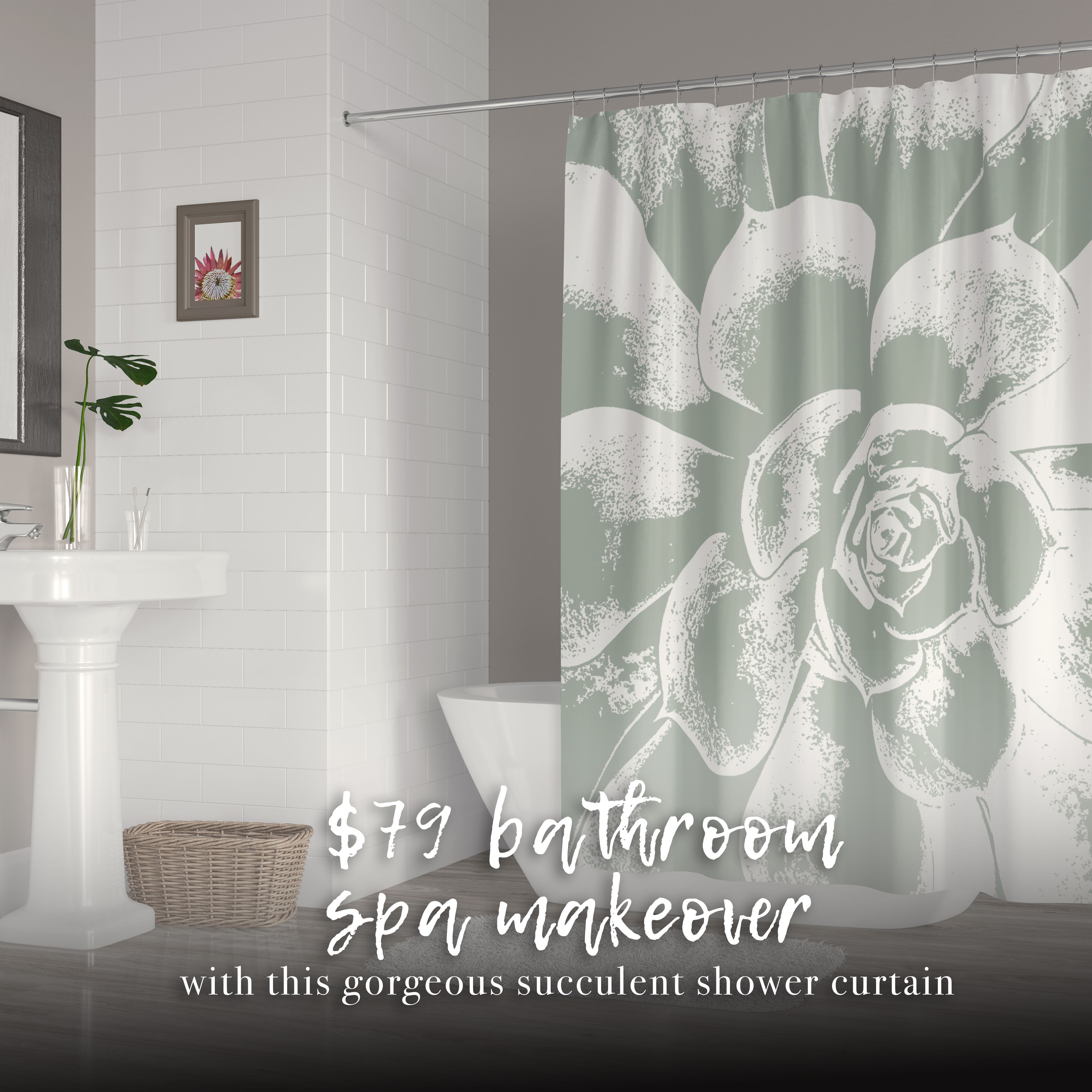 Large Green And White Succulent Shower Curtain Dream Bathrooms
