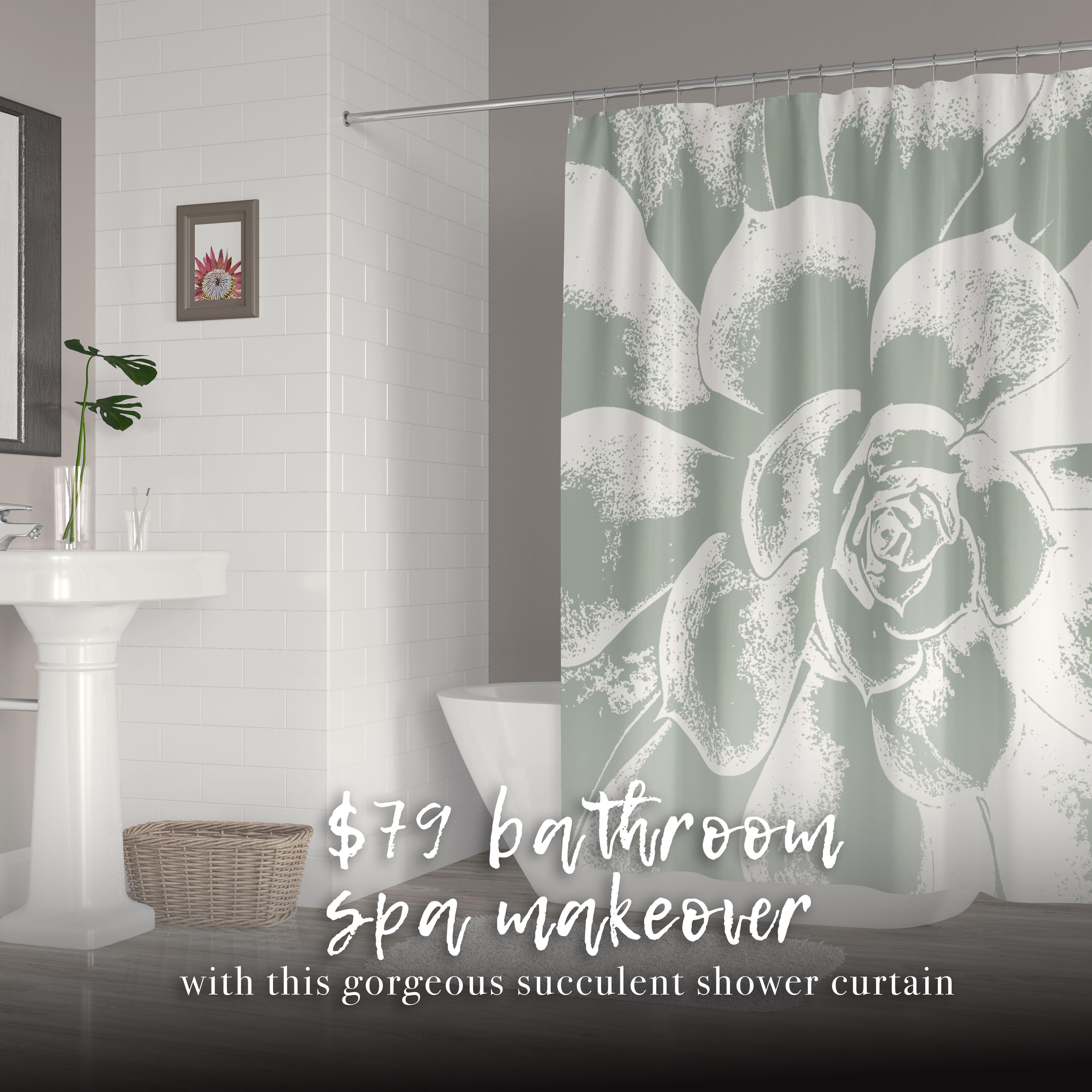 Large Green And White Succulent Shower Curtain Dream Bathrooms Luxury Bathroom Bathroom Interior Design
