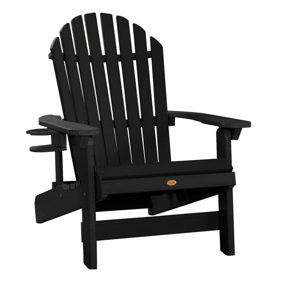 King Hamilton Adirondack Patio Chair with Cup Holder Black