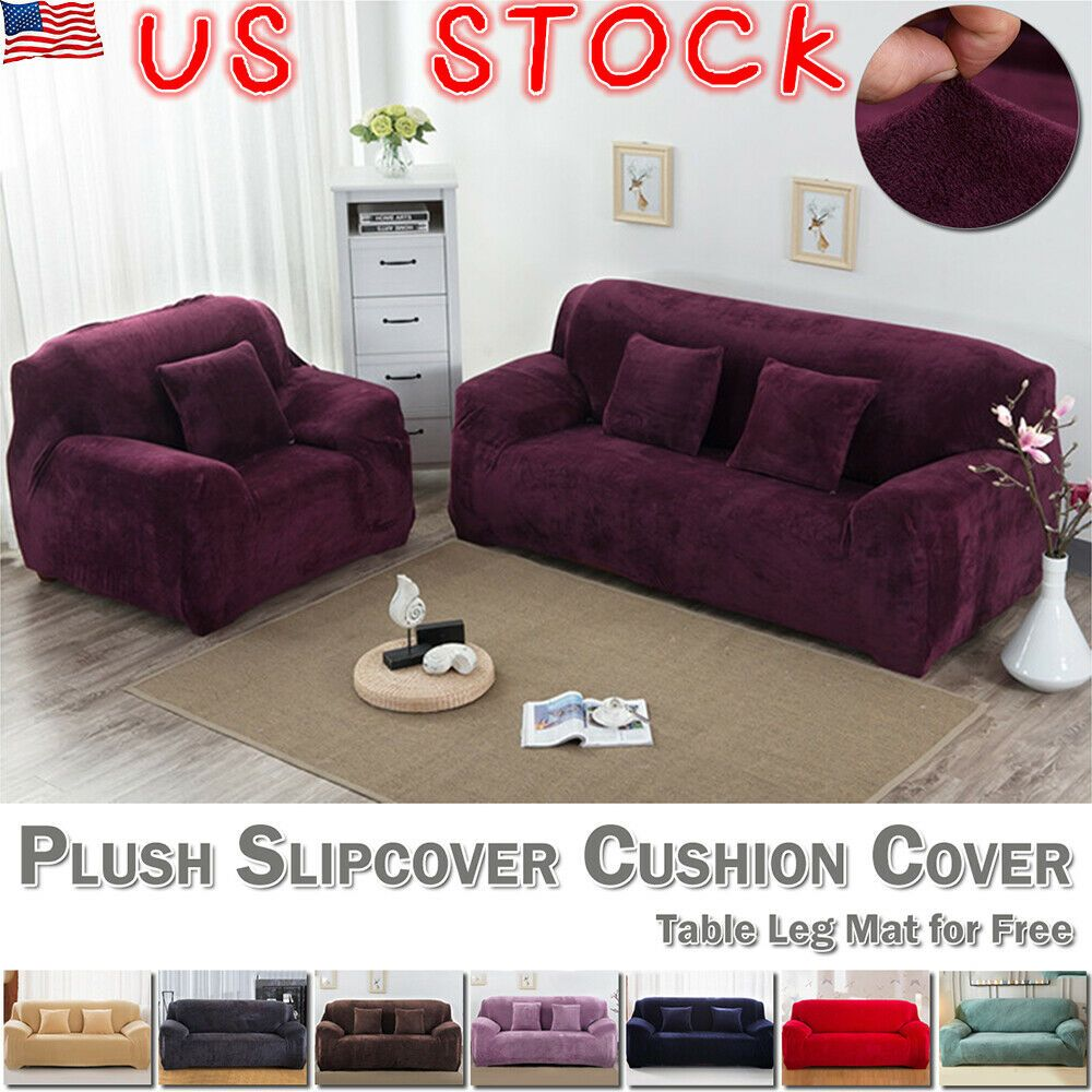 Easy Fit Sofa Slipcover Stretch Protector Soft Couch Cover Thick Plush Velvet Us Sofa Slipcover Ideas O Plush Sofa Slipcovered Sofa Couch Covers Slipcovers