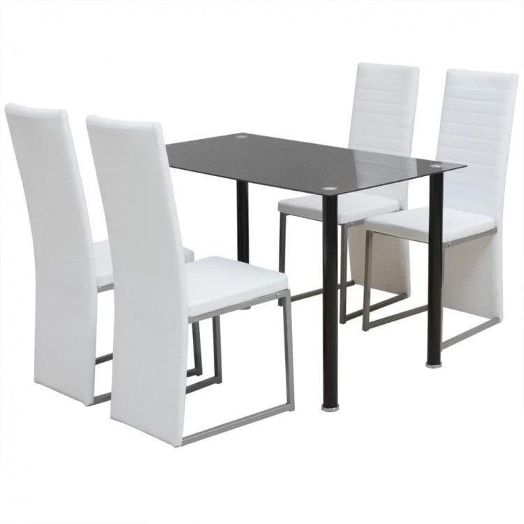 Dining Table Chairs Set Of 5 Tempered Glass Stand Modern White Recliner Seats 249 00end Date De Glass Dining Table Set White Kitchen Table Metal Dining Room