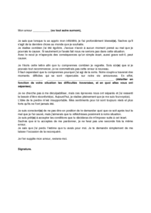 modele lettre excuse