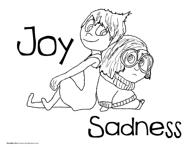 Inside Out Coloring Sheets Joy And Sadness Pixar