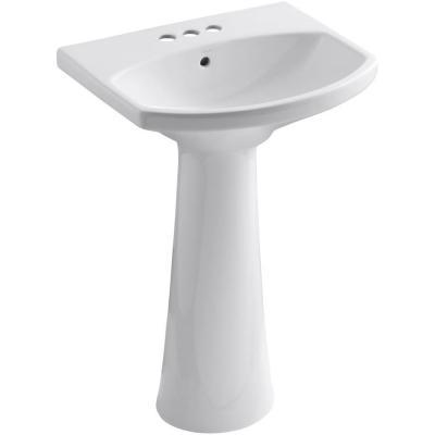 KOHLER Cimarron 4 in. Centerset Pedestal Combo Bathroom Sink in White-K-2362-4-0 at The Home Depot $200 - sleek, modern