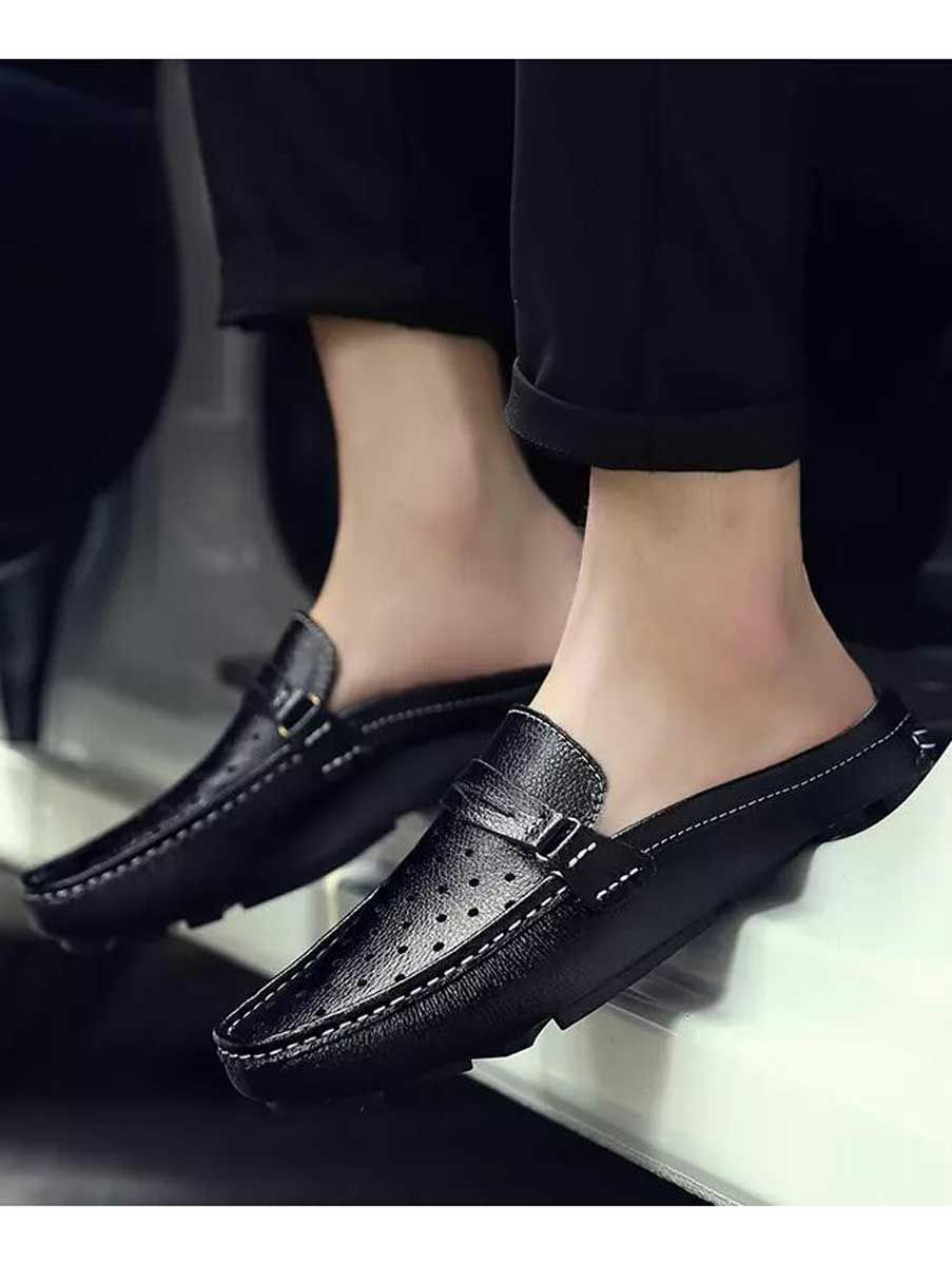 Black Hollow Leather Slip On Half Shoe Penny Loafer Half Shoes Mens Slip On Loafers Mens Casual Shoes