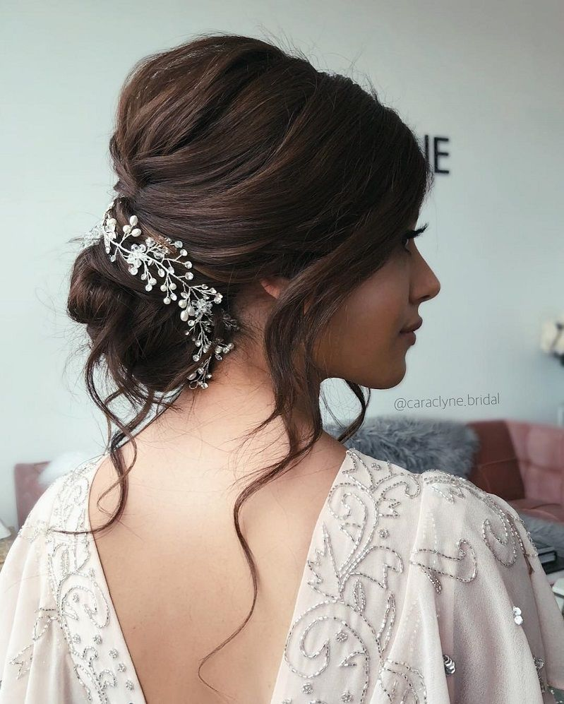 Blown away with these 57 Beautiful Messy wedding hair ,textured updo, half up half down bridal hairstyles #weddinghair #weddingupdo #weddinghairstyle #weddinginspiration #bridalupdo