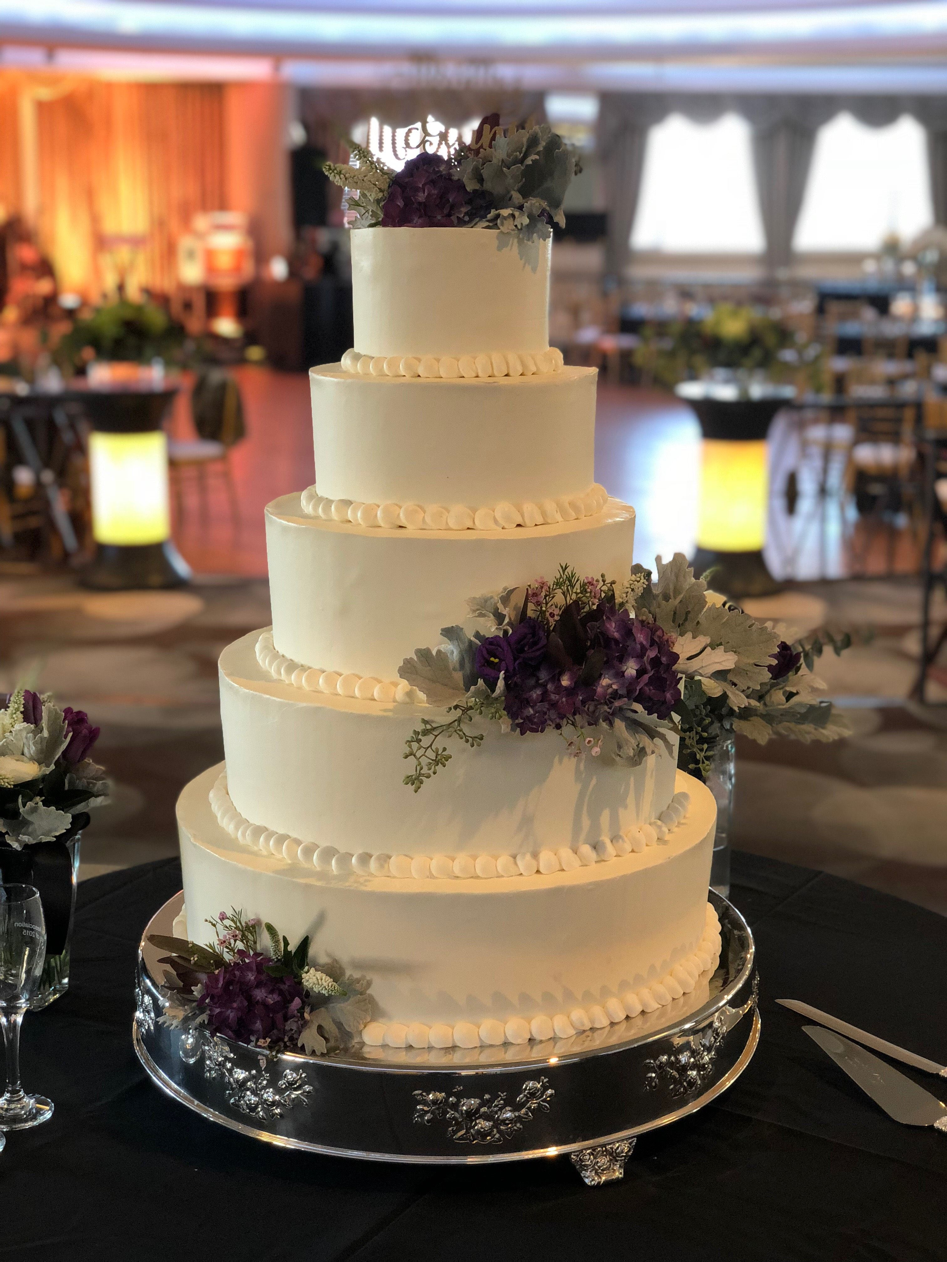 Classic Wedding Cake In The Skyway Featuring Purple Hydrangea