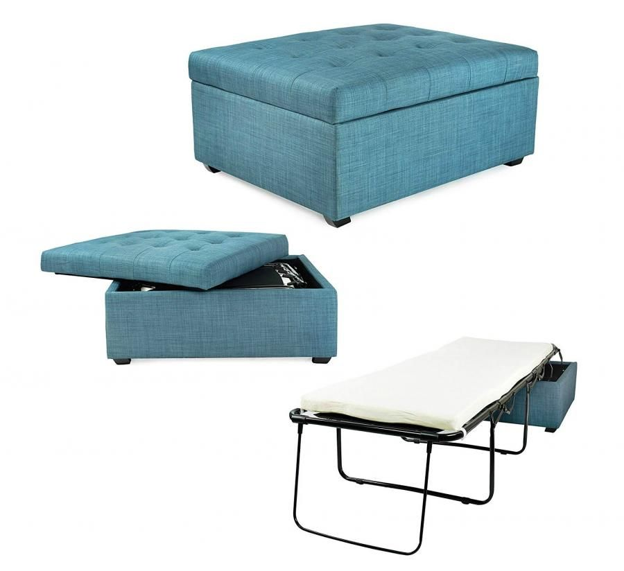 Convertible Ottoman Turns Into A Hideaway Guest Bed Ottoman Bed Guest Bed Foldable Bed Small space ottoman fold out bed