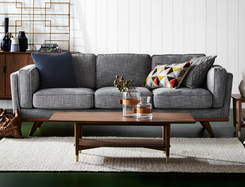 11 Of The Best Fabric Sofas Australia Has To Offer Grey Sofa Decor Dining Table In Living Room Couches Living Room