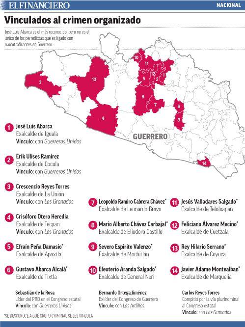 En Guerrero, lista con al menos 17 perredistas ligados al narco. 03/11/2015