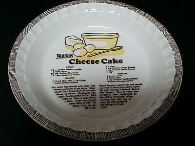 Watkins Cheese Cake Recipe Pie Plate 10 1/2\  Deep Dish Baking Cooking Vintage & Watkins Cheese Cake Recipe Pie Plate 10 1/2\