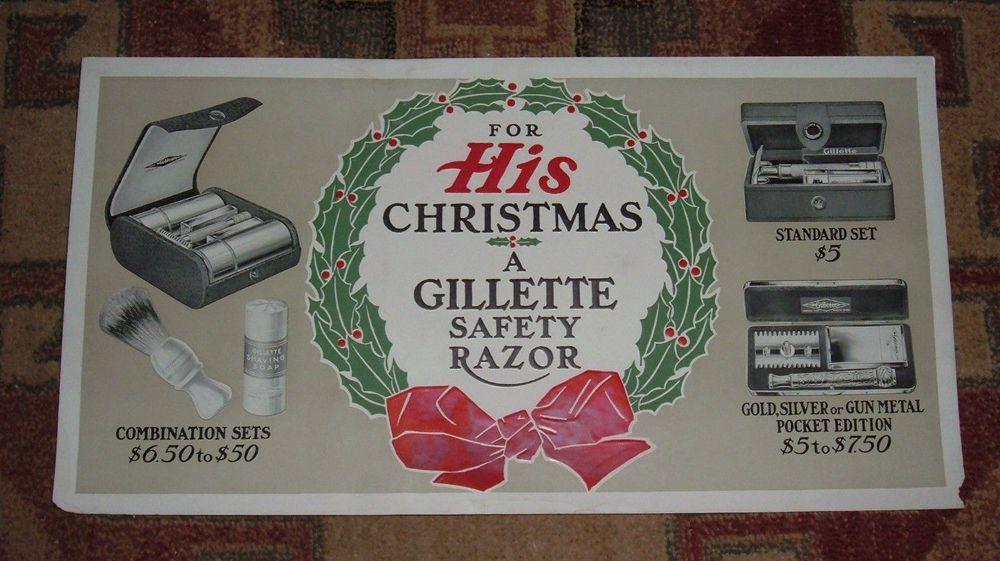 Vintage Gillette Razor Trolley Sign Old Advertising