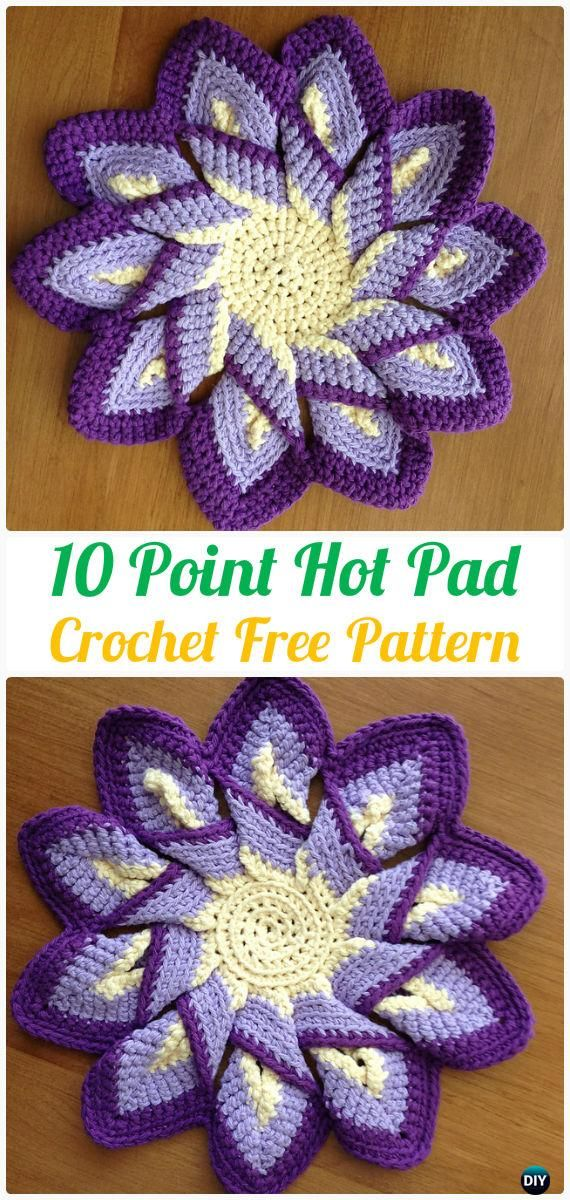 Crochet 10 Point Hot Pad Free Patterns Crochet Pot Holder Hotpad