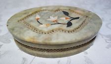 Vintage India Alabaster Box Inlay Flowers Jewerly Inlay Stones