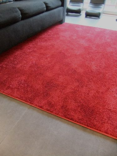 Cut Pile Carpet In A Solid Color Custom And Bound As An Area Rug