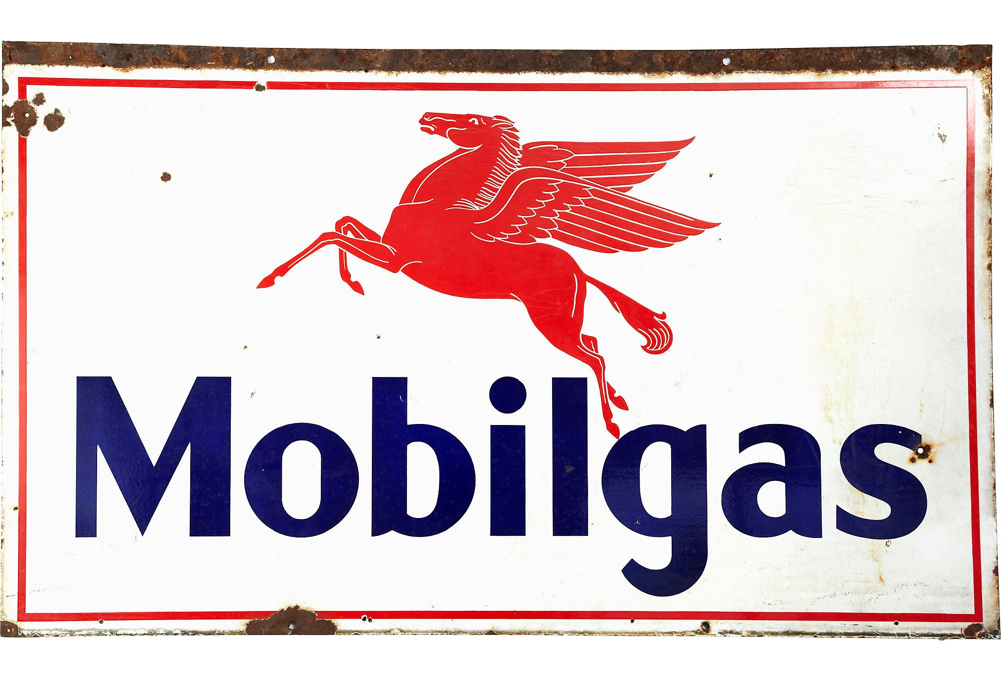 Red, white and blue vintage Mobilgas sign