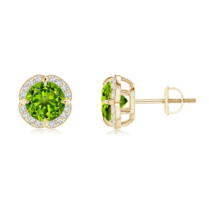 Angara Milgrain Diamond Emerald-Cut Pink Tourmaline Vintage Stud Earrings OoNDa