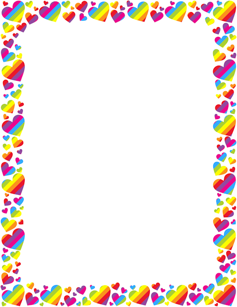 Printable rainbow heart border Free GIF JPG PDF and PNG