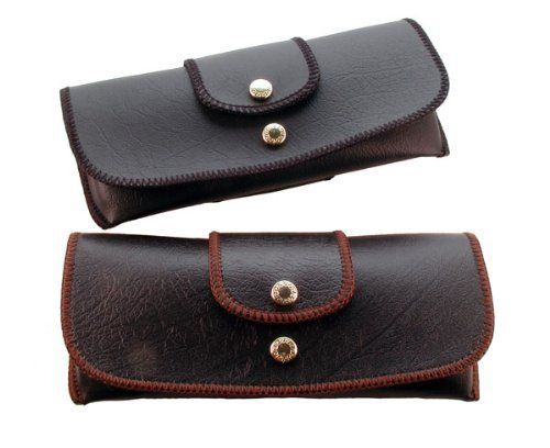 Attaches to Belt Horizontal Soft Eyeglass Case Faux Leather Brown