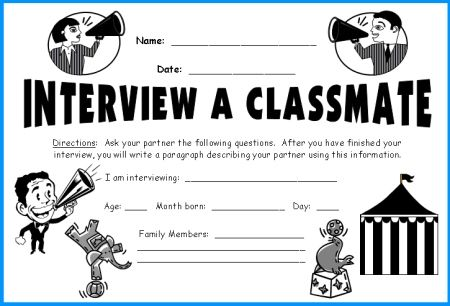 Classmate Interview Megaphone Templates fun Back To School lesson ...