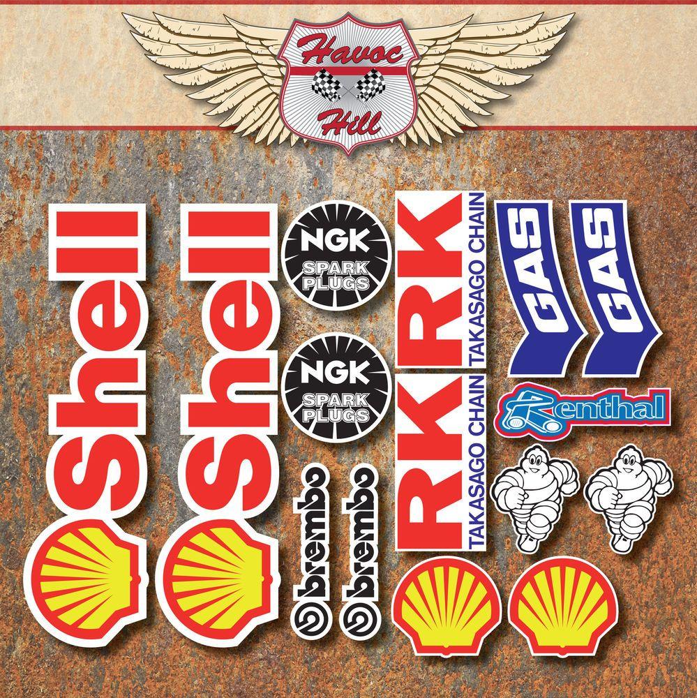 Motorbike Race 15x Stickers Shell Brembo Ngk Rk Gas Michelin Renthal