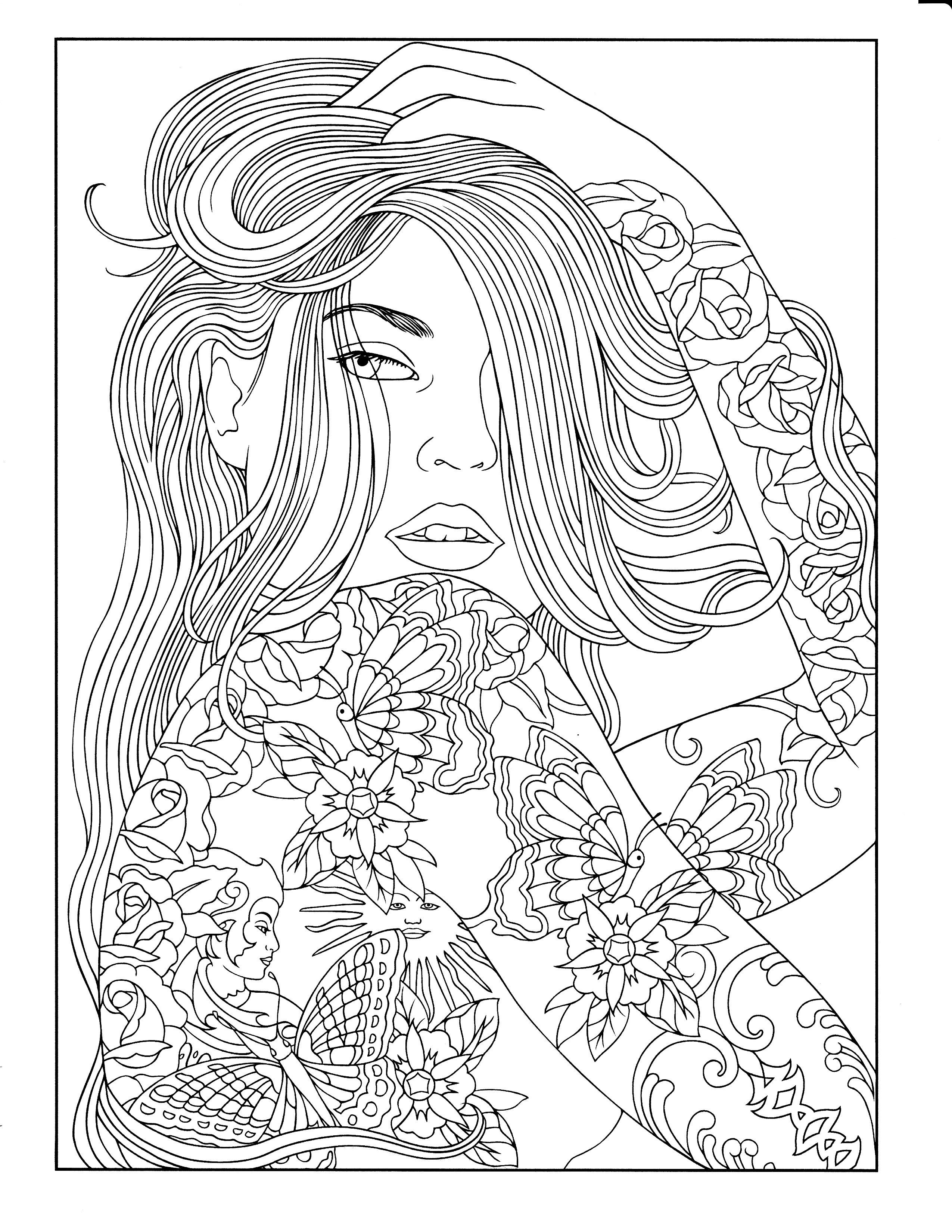 Printable Coloring Page People Coloring Pages Tattoo Coloring