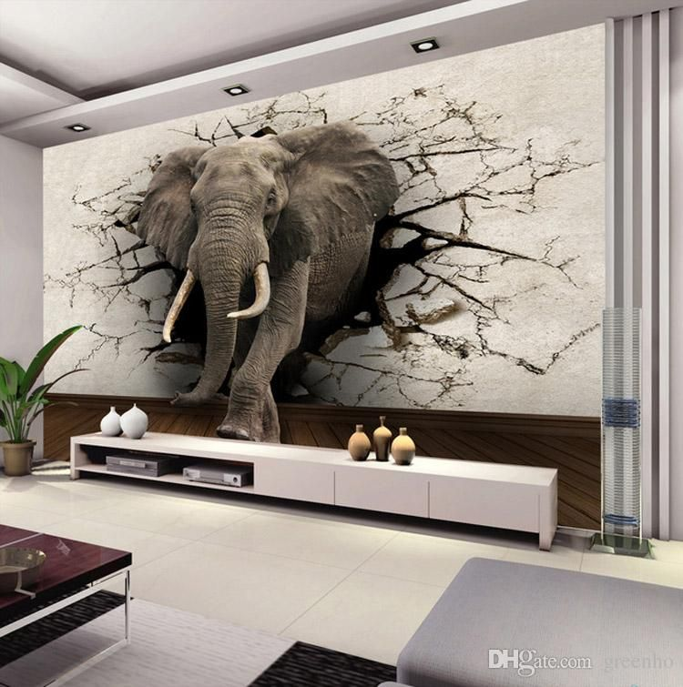 Best Custom 3D Elephant Wall Mural Personalized Giant Photo 640 x 480
