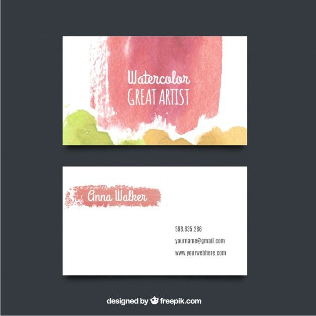 Colorful Brushes Business Card Mockup Free Vector