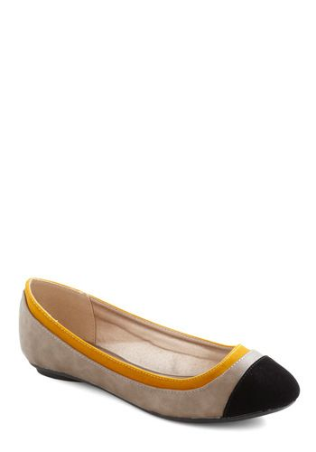 64aea8868 Thanks for the Tiptoe Flat - Tan, Yellow, Black, Color Block, Flat,  Colorblocking, Casual